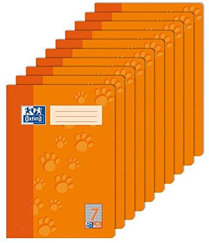 Oxford 100050325 Schule Schulheft A4, kariert, Lineatur 7, 32 Blatt orange, 10er Pack