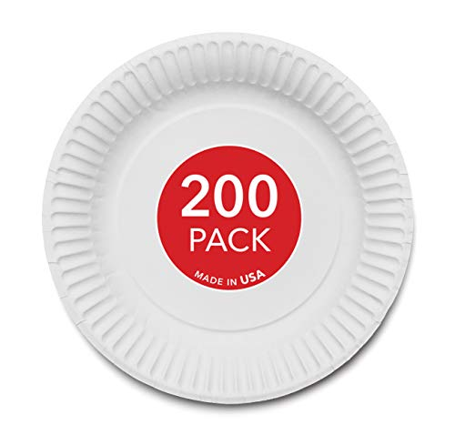 """Stock Your Home 9-Inch Paper Plates Uncoated, Everyday Disposable Plates 9"""" Paper Plate Bulk, White, 200 Count"""