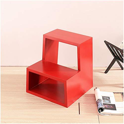 YINUO En bois massif créatif moderne minimaliste étagère étagère de rangement salon chambre décodeur décoration multi-couche de fleurs taille de l'étagère: 40x38x44cm (Color : Red)