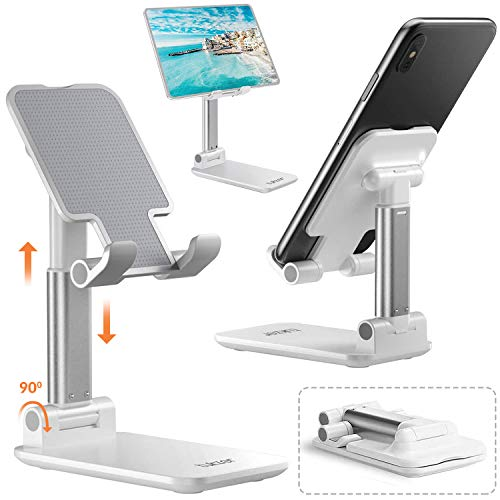 Tukzer Tablet Stand, Fully Foldable | Angle Height Adjustable | Tab & Phone Holder Stand for Desk, Cradle, Dock, Desktop Tablet Stand Compatible with Smartphones/iPhone/iPad/Tablets/Kindle (White)
