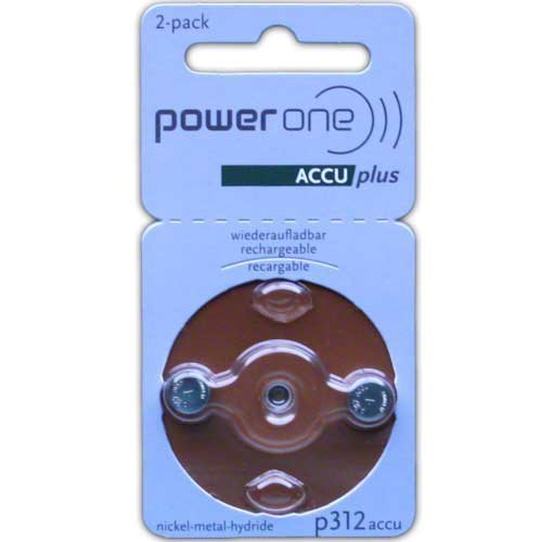 PowerOne ACCU plus Size 312 Rechargeable Hearing Aid Batteries, Model: Size 312 2-Pack, Electronic Store & More