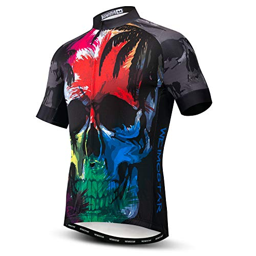 Maillot de ciclismo para hombre, manga corta, S-XXXL, puños de licra - - For Your Chest 35-37 (S)