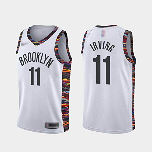 ATI-HSKJ Brooklyn Nets Basketball-Trikots Kyrie Irving Fans Männer Basketball Westen Weiß Classic Retro Sweatshirt Jersey BH254,L:175cm~180cm