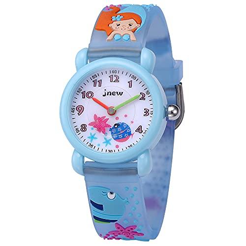 KZKR - Reloj de pulsera para niño, pedagógico, deportivo, para aprender a la hora y el aprendizaje, silicona, mecanismo de cuarzo japonés, fácil de aprender la hora, diseño de sirena, color azul