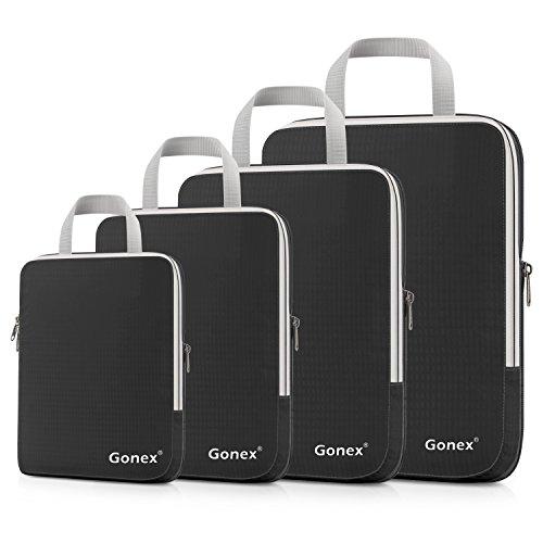 Gonex パッキングオーガナイザー アレンジケース 圧縮できるトラベルポーチ 4点セット 防水 (ブラック)