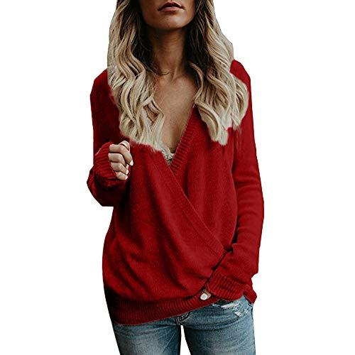 Mingfa Damen Strickpullover, Übergröße, sexy, tiefer V-Ausschnitt, lange Ärmel, Bluse XXL rot