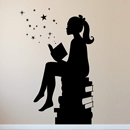 Pegatina Vinilo XL Niña leyendo decoracion paredes o cristal habitaciones, aticos, cuartos lectura, salones, colegios bibliotecas, caravanas 1 m x 60 cm de CHIPYHOME