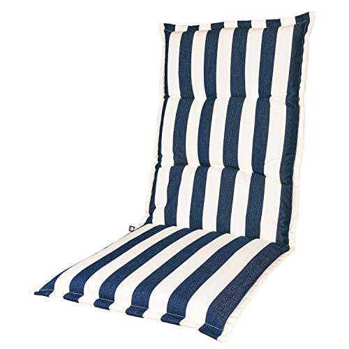 KOPU® Auflage für Hochlehner Mila Blue   Polster für Gartenstühle   blau Garten Kissen 125 x 50 cm   5 Gestreifte Robuster Schaumstoff für zusätzlichen Komfort