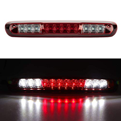 3rd Brake Light Compatible with 2007-2013 Silverado/GMC Sierra 1500 2500HD 3500HD, Third Brake Reverse Lights LED High Mount Lamp Tail Light Cargo Light (Red Lens)