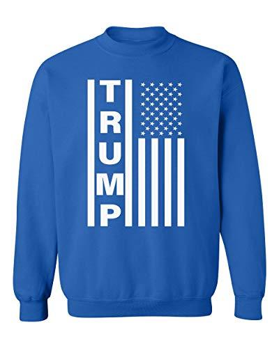 Kropsis Trump American Flag Design Republican Political Crewneck Sweatshirt, M, Royal