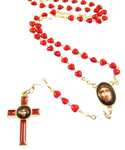 Precious Blood of Christ red Glass Heart Sacred face of Jesus Rosary Beads …