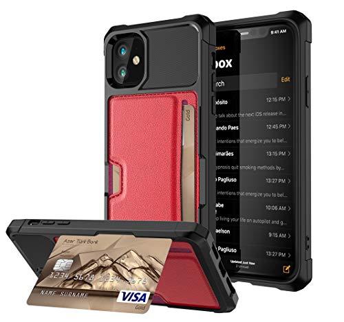 Funda compatible con iPhone 12 Mini con tarjetero, PC duro + TPU flexible antigolpes y protección contra caídas [con soporte] funda para teléfono móvil, placa de metal magnética incorporada (rojo)