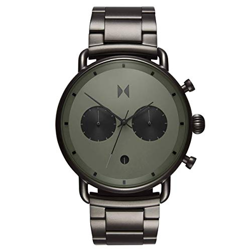 MVMT Blacktop Mens Watch, 47 MM | Stainless Steel Link Band, Analog Chronograph Watch | Rallye Green Gunmetal
