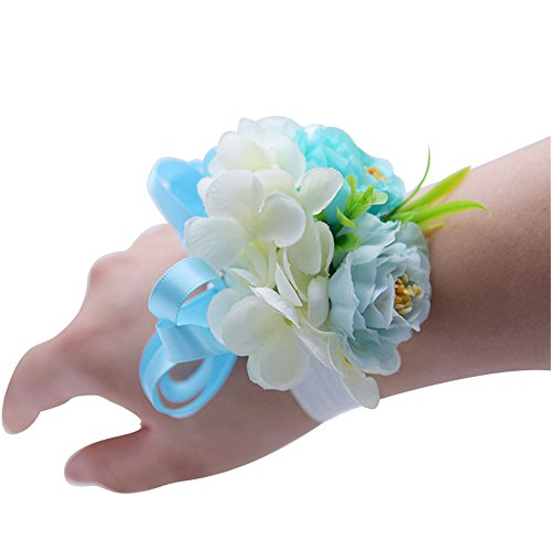 MOJUN Peony Wrist Corsage for Wedding Hand Flower Peony Wristband Wedding Party Prom Homecoming Decor, Pack of 4, Turquoise