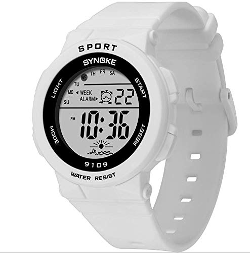 MUZILIZIYU Reloj Digital para niños Pulsera plástico PU Deportes al Aire Libre Luces Coloridas multifuncionales Impermeable LED Reloj Digital Estudiantes y niños, Azul (Color : White)