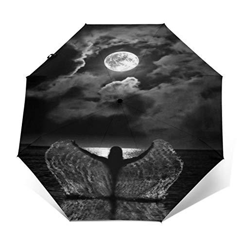 TISAGUER Paraguas automático de Apertura/Cierre,Cuadro en Blanco y Negro de Arte Moderno,Hermosa Mujer Jugando con Agua en el mar y el Cielo Nocturno,Paraguas pequeño Plegable a Prueba de Viento