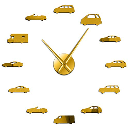hufeng Reloj de Pared Ilustración de Coches Habitación de niños Transporte Arte de la Pared Reloj de Pared Grande DIY Vintage Coche Deportivo Automotor Decoración del hogar Reloj Colgante