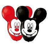 Amscan 9903667 - Juego de 4 globos de látex, diseño de Mickey Mouse, color negro y rojo , color/modelo surtido