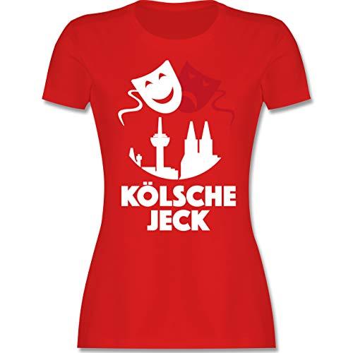 Karneval & Fasching - Kölsche Jeck Rot Weiß - XL - Rot - kölsch - L191 - Tailliertes Tshirt für Damen und Frauen T-Shirt