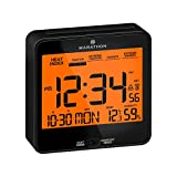 Marathon Atomic Alarm Clock with Heat and Comfort Index - Date and Indoor Temperature. Backlight, Snooze and Loud Alarm - Batteries Included - CL030054BK (Black)