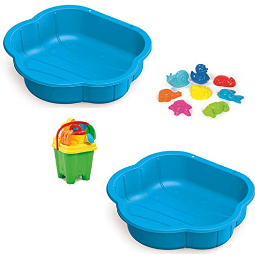 Addo – Sand & Water Play Pit Set – Indoor & Outdoor Blue Shell Sandpit with Moulds and Beach Accessories for Toddlers and Children Ages 3 to 8 Years (88cm)