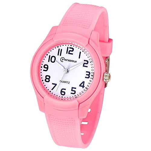 Relojes Analógicos para Niños, Niñas Impermeable Fácil de Leer Relojes de Pulsera con Correa Suave para Niñas (Rosa)