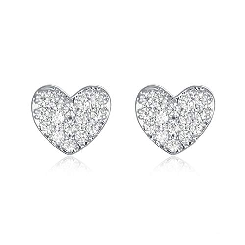 QIN 925 sterling silver spiral earrings with cubic zirconia heart Korean women's fashion jewelry cute shiny and beautiful small earrings