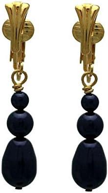 PORTIA Gold Plated Deep Purple Glass Bead Clip On Earrings