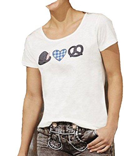 Esmara Trachten T-Shirt. glitzernde Effekte, 100% Baumwolle Wiesn Oktoberfest Dirndl Tracht Trachten (M(40-42))