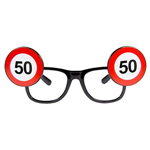 Folat 24950 50. Geburtstag Spaß-Brille Verkehrsschild, Mehrfarbig