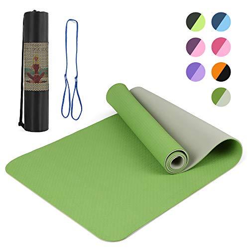 Lixada 72x24IN Tappetino da Yoga Antiscivolo TPE Eco Friendly Fitness Pilates Tappeto da Ginnastica Confezione Regalo e Custodia