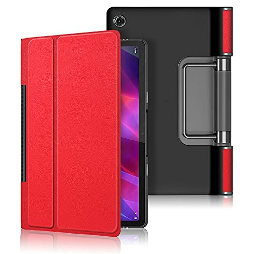 Kepuch Custer Funda para Lenovo Yoga Tab 11' YT-J706F,Slim Smart Cover Fundas Carcasa Case Protectora de PU-Cuero para Lenovo Yoga Tab 11' YT-J706F - Rojo