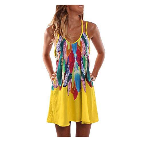 MOMOXI Vestidos para mujer Mini vestido corto sin mangas con estampado de verano suelto para Casual Verano Vintage Bohemio Verano sin Mangas Flores Impresa Mini Vestido Corto Camisolas Playa