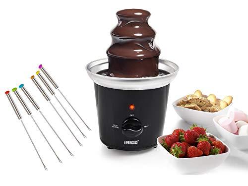 Design Schokoladenbrunnen zum Schokolade schmelzen für Schokofrüchte - Schokofondue Set mit 6 Spießen