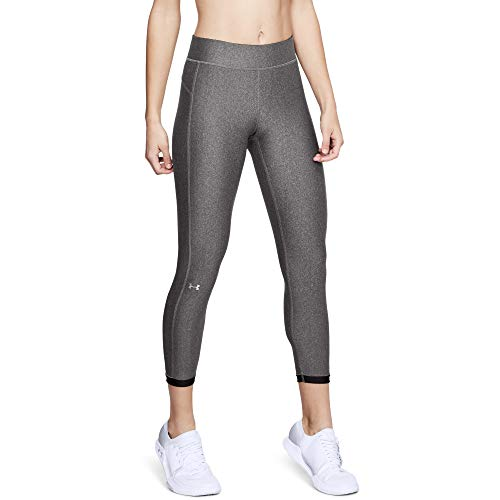 Under Armour Damen UA HeatGear Ankle Crop atmungsaktive, superleichte Sport Leggings mit Passform Kompression, Grau, Small