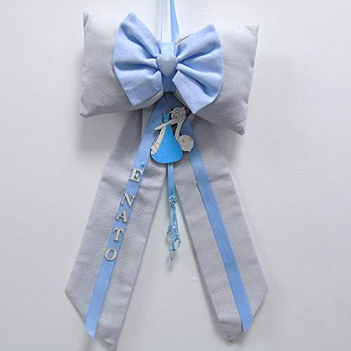 Schleife Geburt Storch mit Buchstaben aus Holz, Grau, Hellblau, für Jungen, von Hand gefertigt