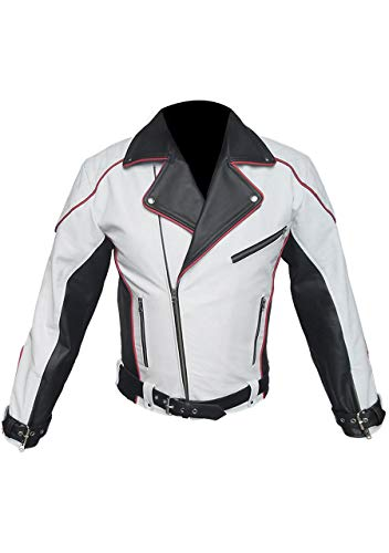 Mens Real Black White & Red Pure Leather Jacket Bikers Jacket Racers Jacket