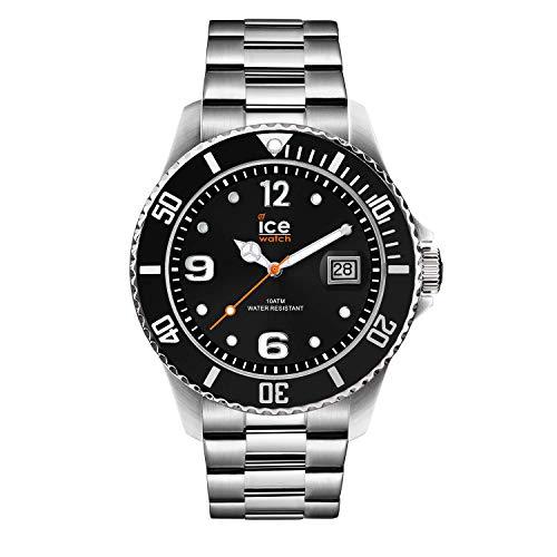Ice-Watch - Ice Steel Black Silver - Montre Noire Mixte avec Bracelet en Metal - 016031 (Medium)