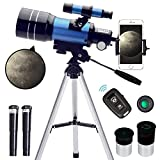 ToyerBee Telescope for Adults & Kids, 70mm Aperture (15X-150X) Portable Refractor Telescopes for Astronomy Beginners, 300mm Professional Travel Telescope with A Smartphone Adapter& A Wireless Remote