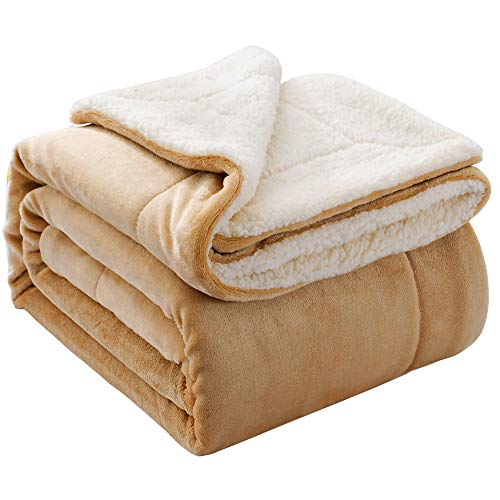 NANPIPER Throw Blanket Reversible Sherpa Flannel Blanket Super Soft Fuzzy Lightweight Fleece Microfiber for Bed/Couch (50'x60',Beige)