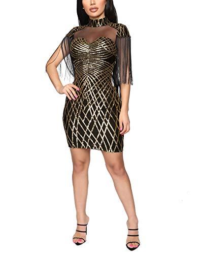 Sprifloral Club Dresses Sleeveless Sheer Mesh Mock Neck Fringed Glitter Short Pencil Dress Gold L
