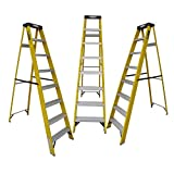 LADDERMAN 7-Step Trade FRP Self Supported Foldable Type Electrical Shock-Free Fiber Glass Safety Ladder; Standard; Yellow