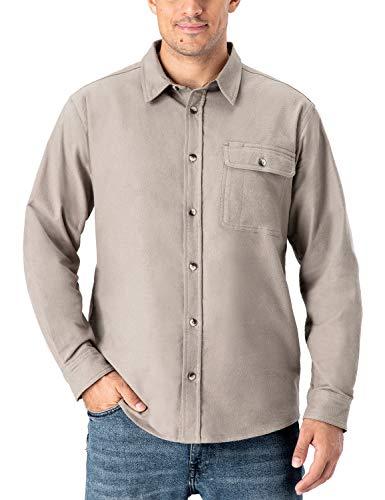 NAVISKIN Camisa Casual de Franela para Hombre Playera de Forro Polar de...