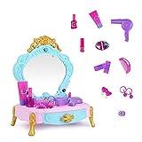 KYEEY Tocadores para niños Simulación Princesa Dresser Puzzle Juguete Maquillaje Muchacha de los niños Mini casa del Juego Set Juegos de Mesa y Silla para niños (Color : Blue, Size : 34x22x25cm)