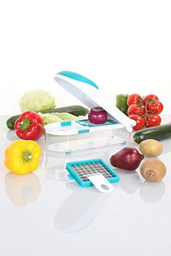 culinario Gemüseschneider und Zwiebelschneider mit 2 Einsätzen, petrol, Gemüsehobel, Obst und Gemüse Zerkleinerer, Multischneider, Universalschneider
