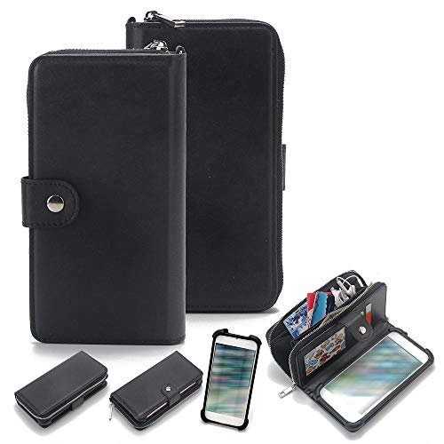 K-S-Trade 2in1 Handyhülle Kompatibel Mit Fairphone Fairphone 3 Schutzhülle und Portemonnee Schutzhülle Tasche Handytasche Hülle Etui Geldbörse Wallet Bookstyle Hülle Schwarz (1x)
