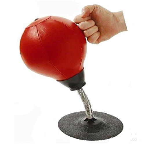 HemeraPhit Punching-Ball zum Boxen für den Schreibtisch, extrem Starke Saugkraft, Stressabbau, Speed Ball mit Pumpe (Rot)