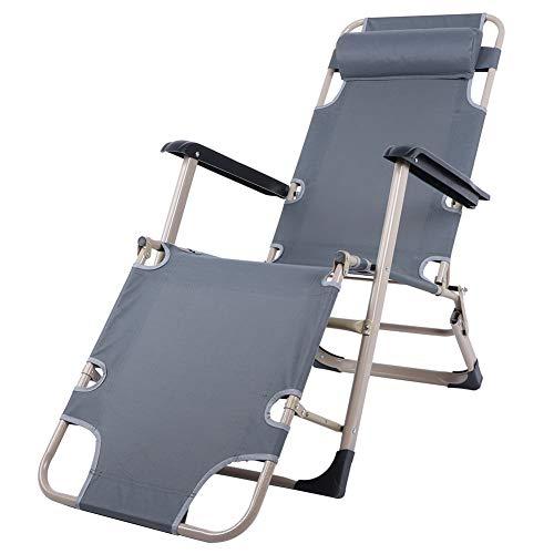 Pissente Silla reclinable plegable de playa con almohada, silla de camping portátil con cojín de cojín de respaldo alto para jardín, camping playa (gris)