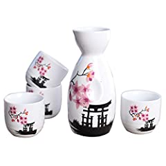 "Set includes 1 sake bottle and 4 cups, packed in box. Dimension: bottle is 5"" tall by 1.8"" dia.; cup is 1.8"" tall by 1.8"" dia. Material: ceramic; Color: Pink Blossom Microwave and dishwasher safe. A great gift idea for any sake lover. Enjoy your favo..."