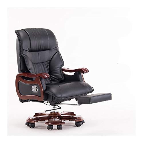 JCXOZ Chefsessel Büro Massage Kuhfell Lehnstuhl Stilvolle justierbare Gaming Sitzkopfstütze Ergonomische mit Fußrasten Zurück Lordosenhöhen Bürostühle (Color : Schwarz)